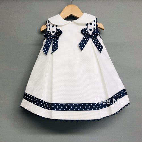 New Arrival Beautiful Wee Me Baby Girl Spanish White Princess Dress with Navy Bow